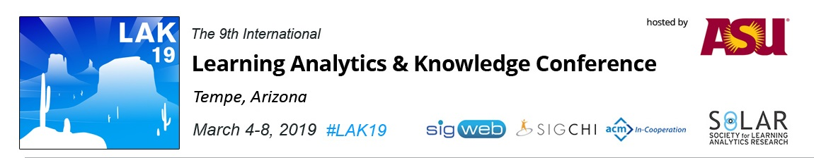 LAK19: 9th International Learning Analytics and Knowledge